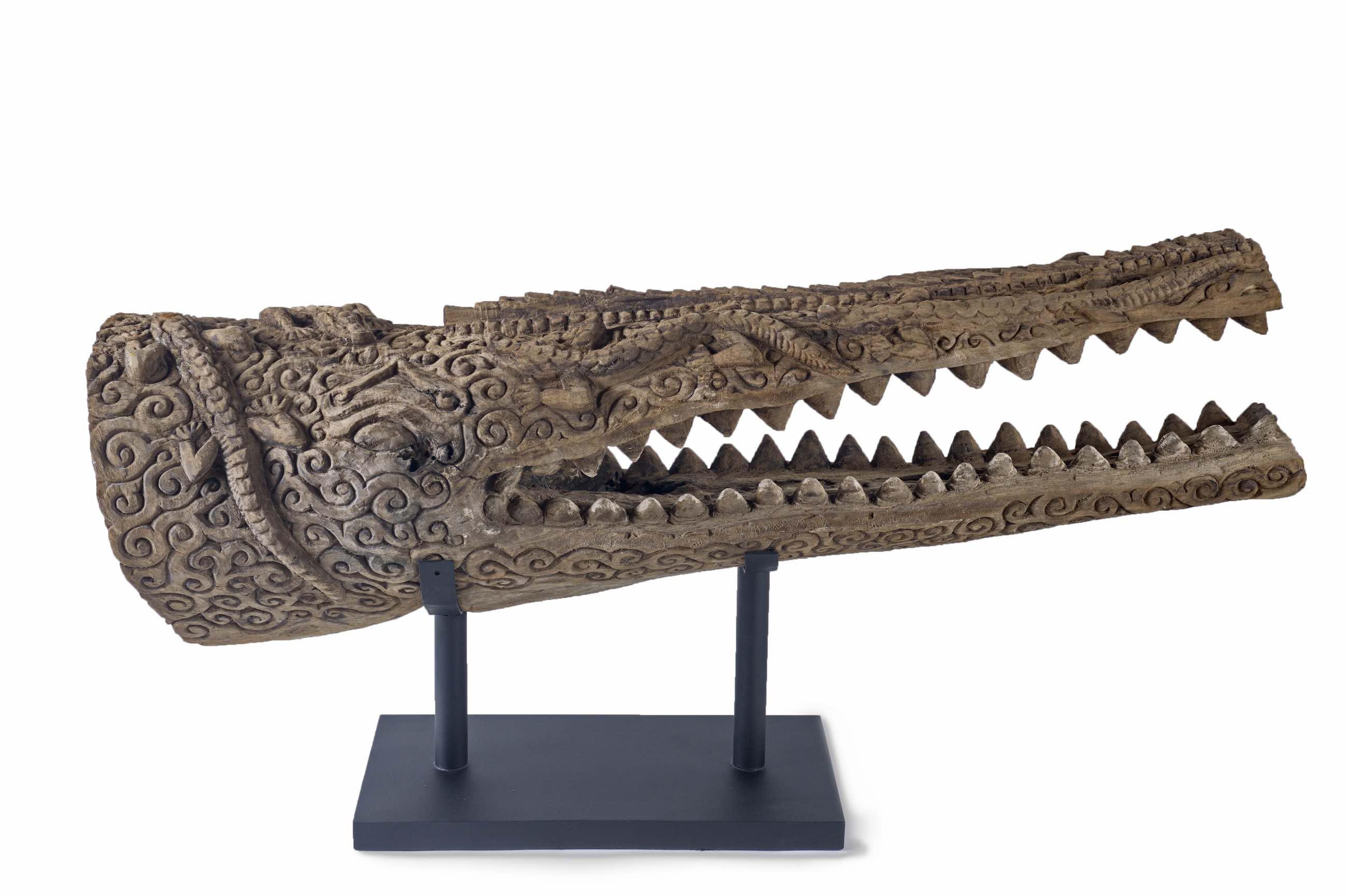 Skulptur Krokodilkopf