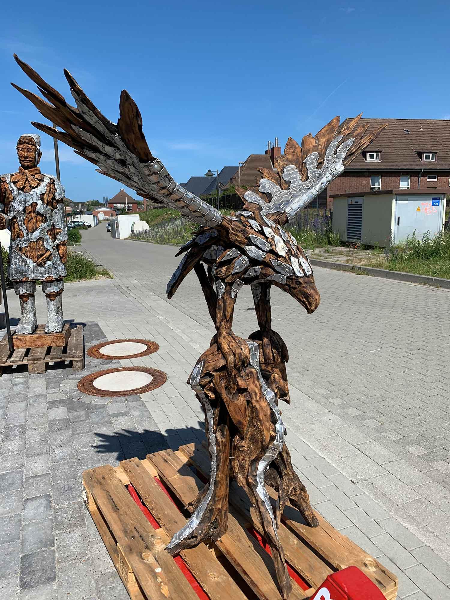 Teakholz-Skulptur Adler L