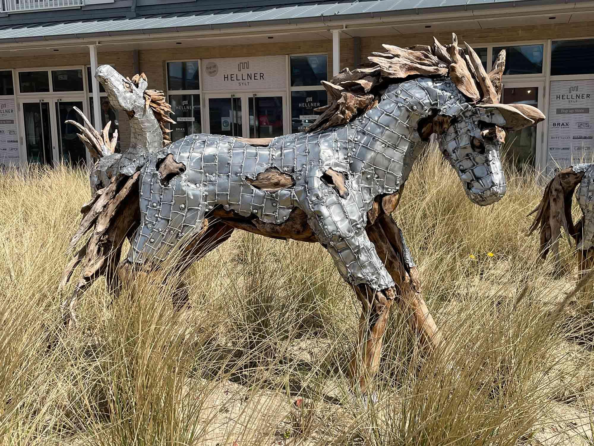 Teakholz-Skulptur Fohlen #2