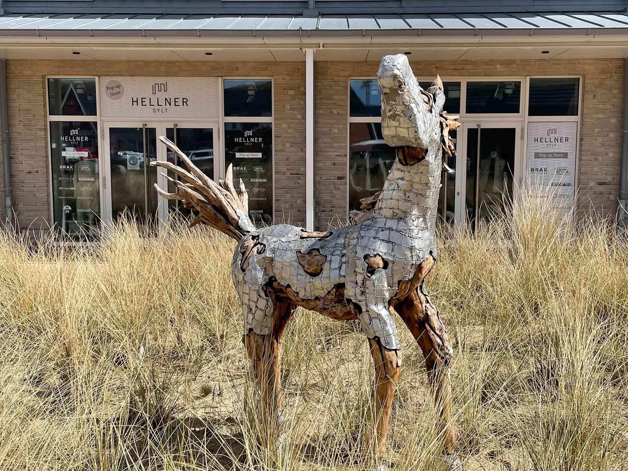 Teakholz-Skulptur Fohlen #3