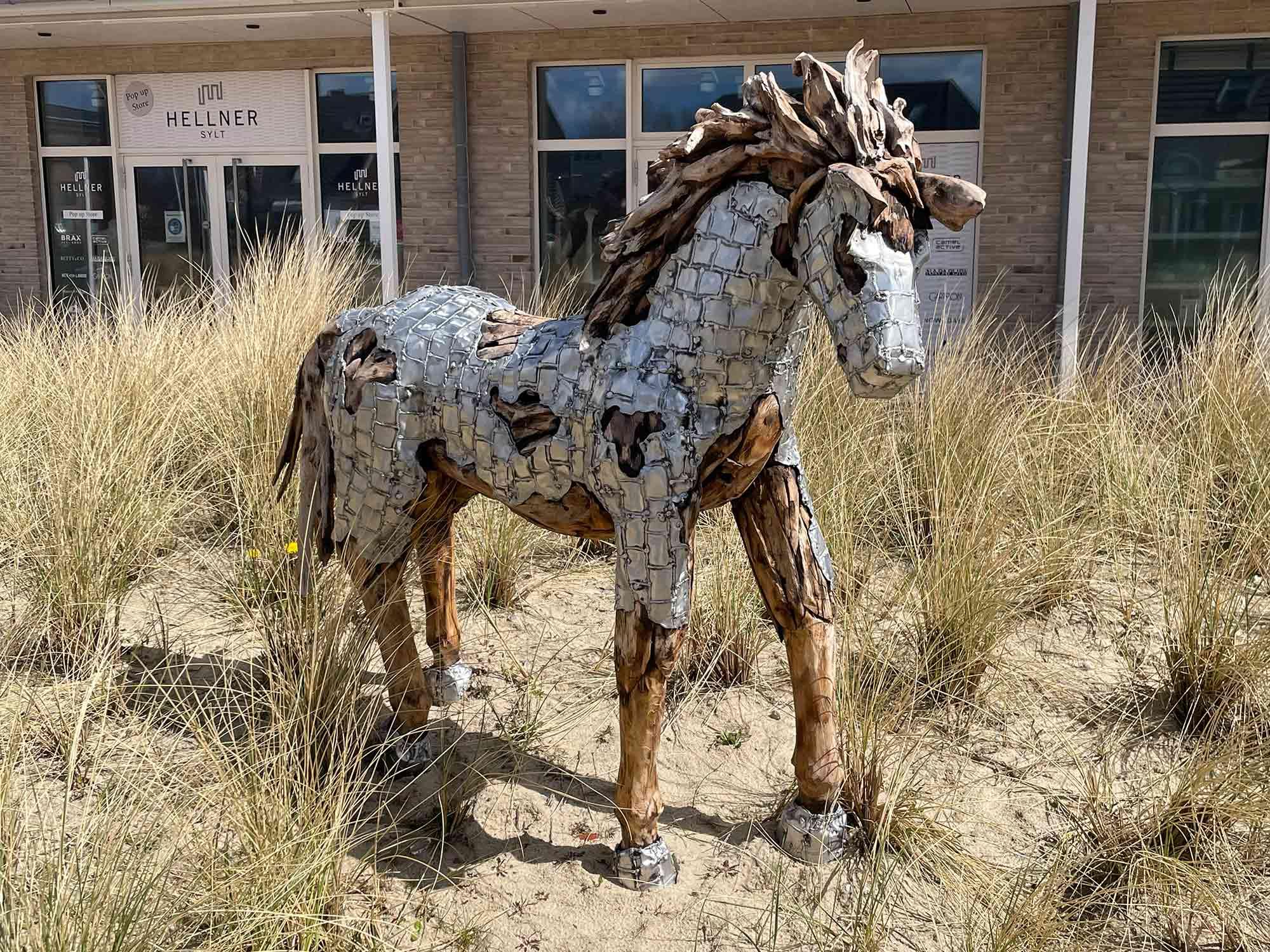 Teakholz-Skulptur Fohlen #1